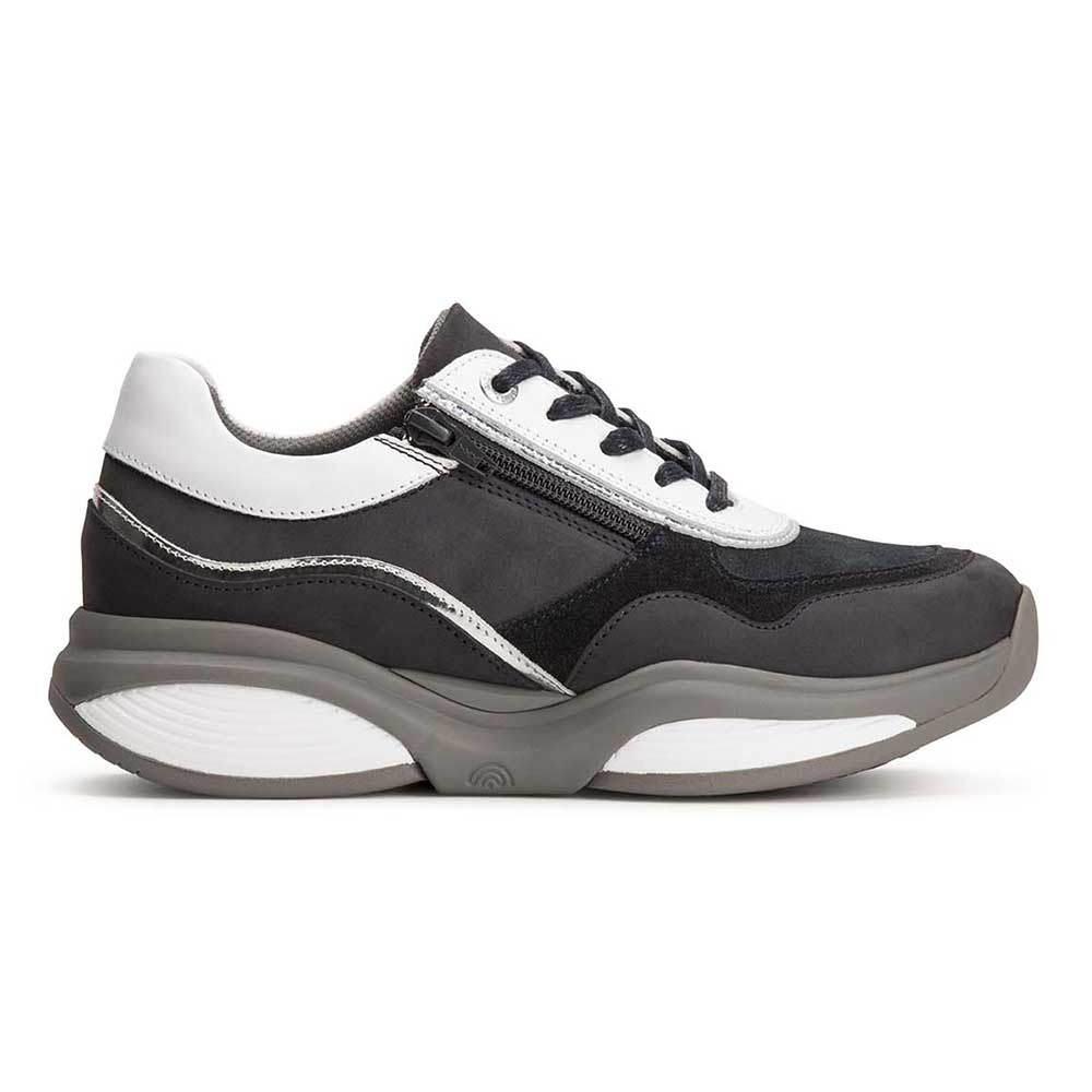 blau| Xsensible Damen Stretchwalker Sneaker Navy mit Weiß und silberfarbenen Akzenten