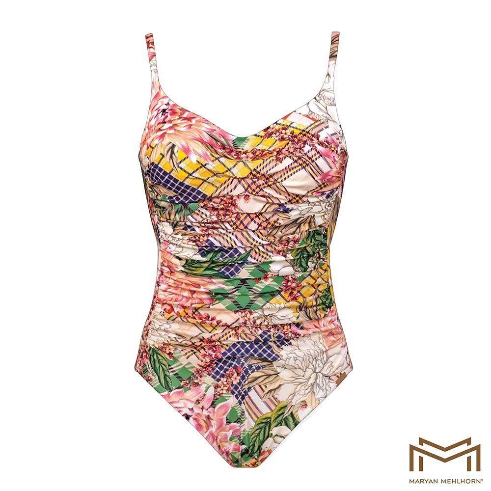 bunt| Maryan Mehlhorn Punk de Fleurs Bügel-Badeanzug mit einem britischen Pastel-Patchwork Print