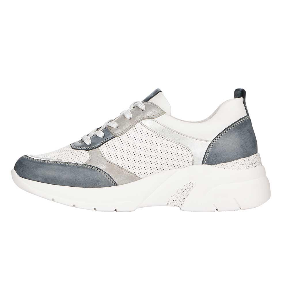 weiss| Remonte Damen Soft Sneaker White-Grey mit prominenter Sohle