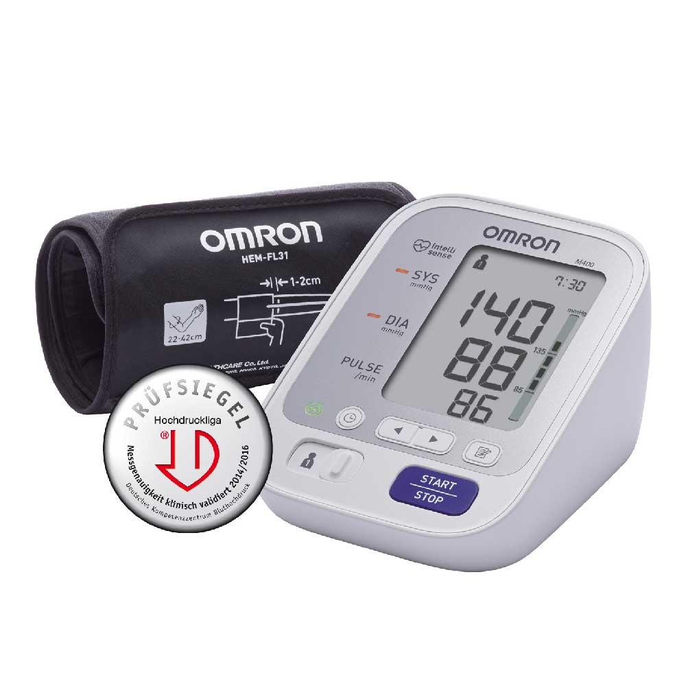 OMRON Blutdruckmessgerät M400 mit Intelli Wrap Manschette - mit dem Prüfsiegel der deutschen Hochdruckliga