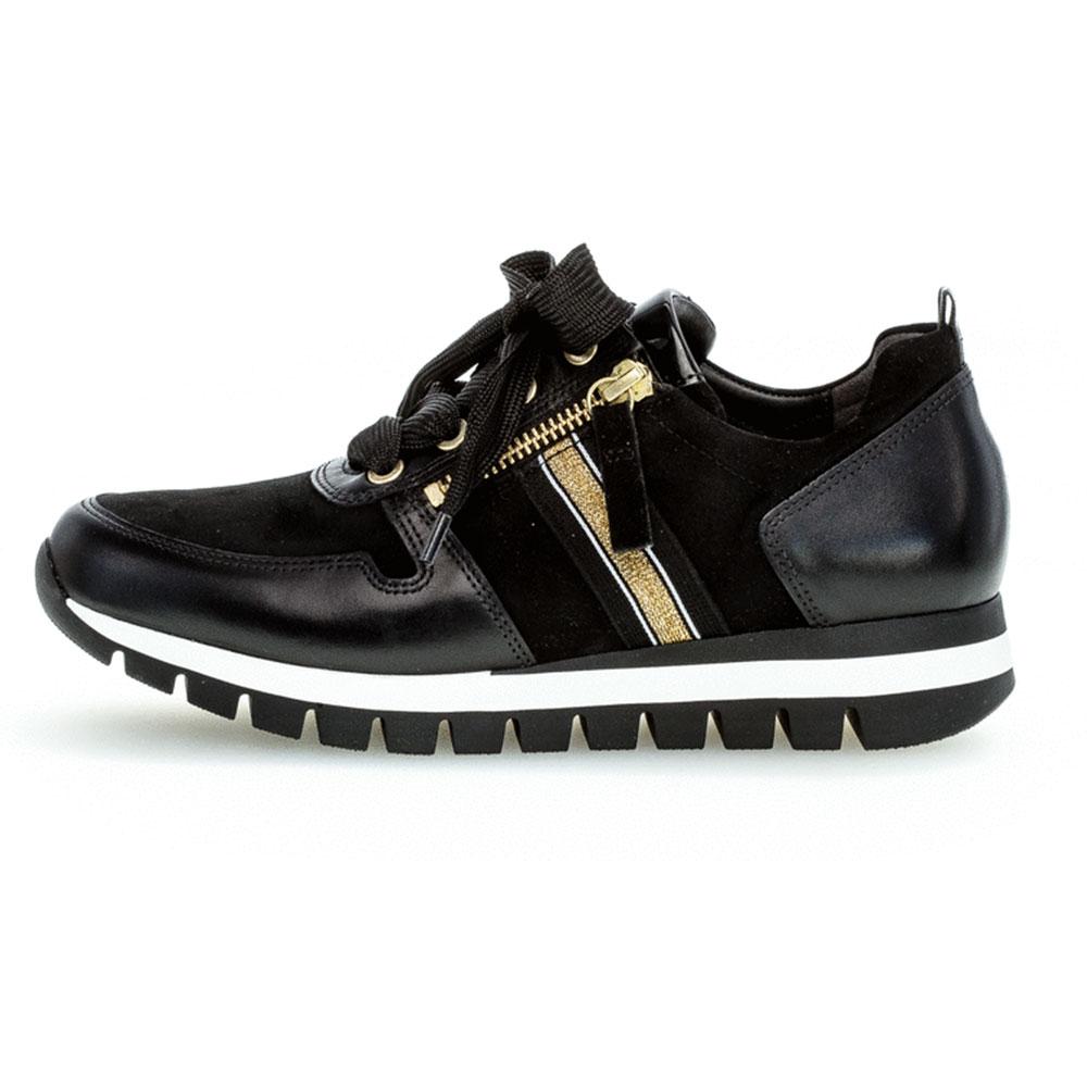 Gabor comfort Sneaker Samt Schwarz/Gold