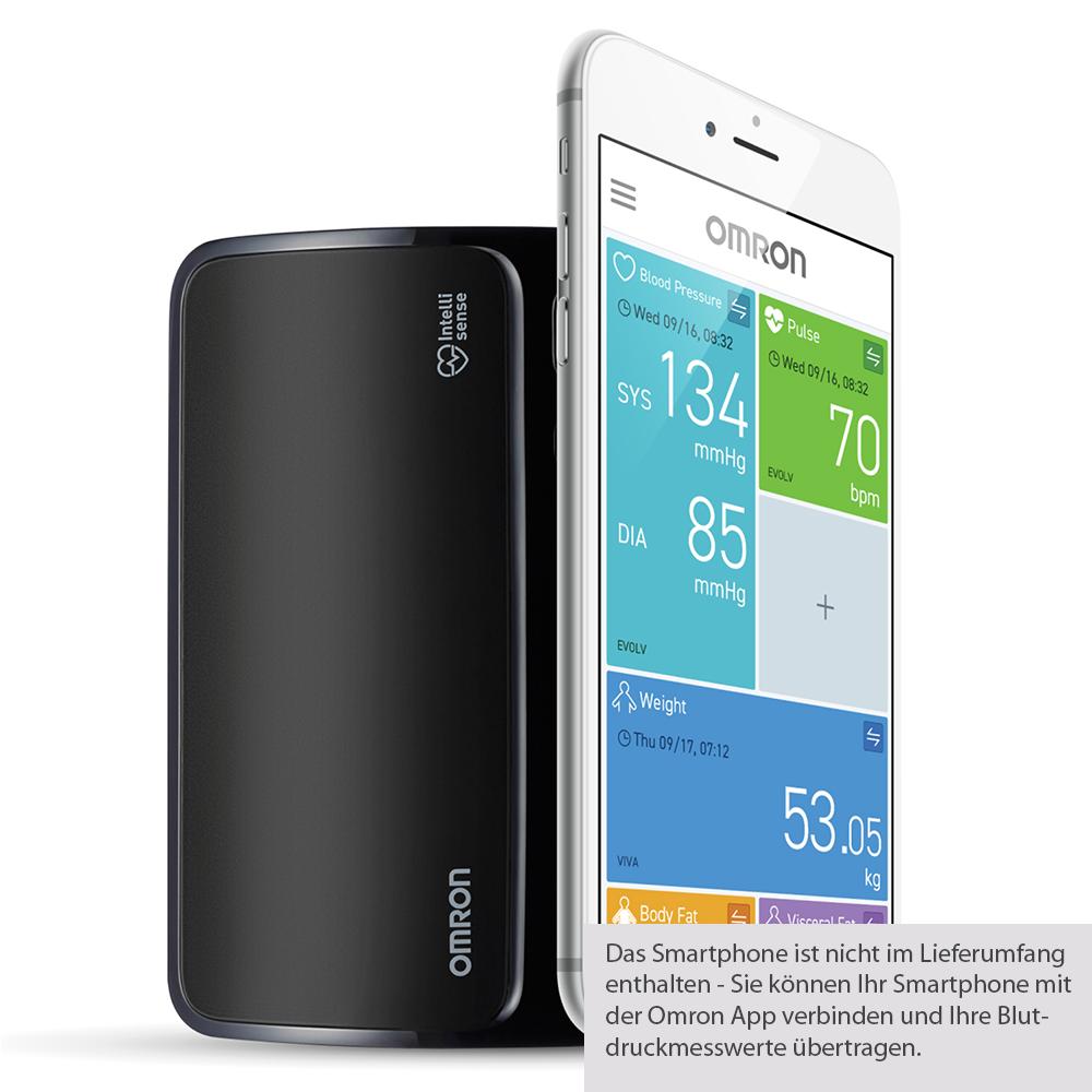 Omron Blutdruckmessgerät EVOLV, Vernetzung mit dem Smartphone