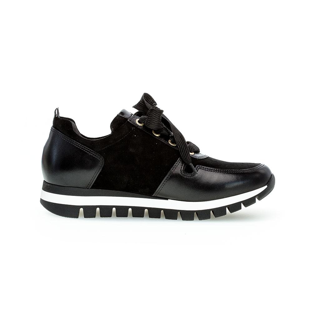 Gabor Sneaker Samt schwarz/gold - Seitenansicht Innenseite mit schwarzem Samtstreifen