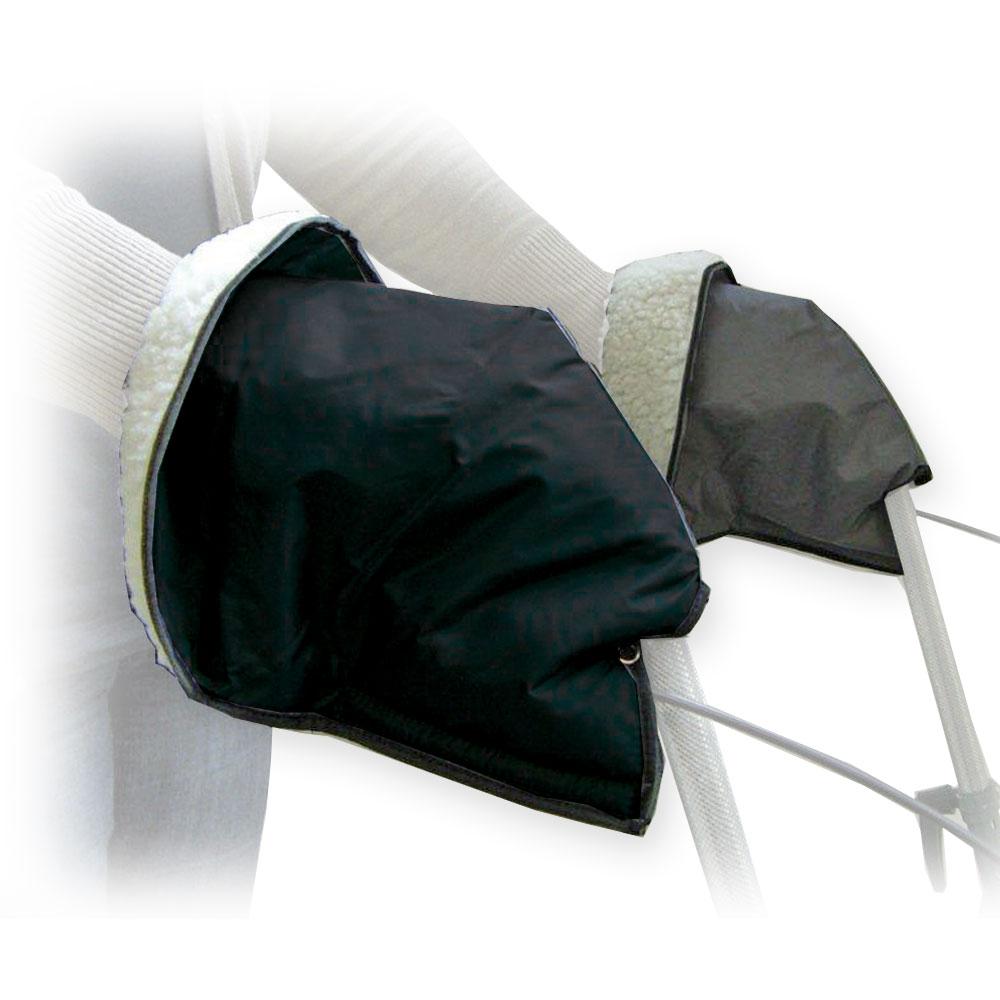 MPB Rollator Handschuhe, mit Kunstfell gefüttert, einfach hineinschlüpfen, leichte Befestigung am Rollator, Farbe: Grau