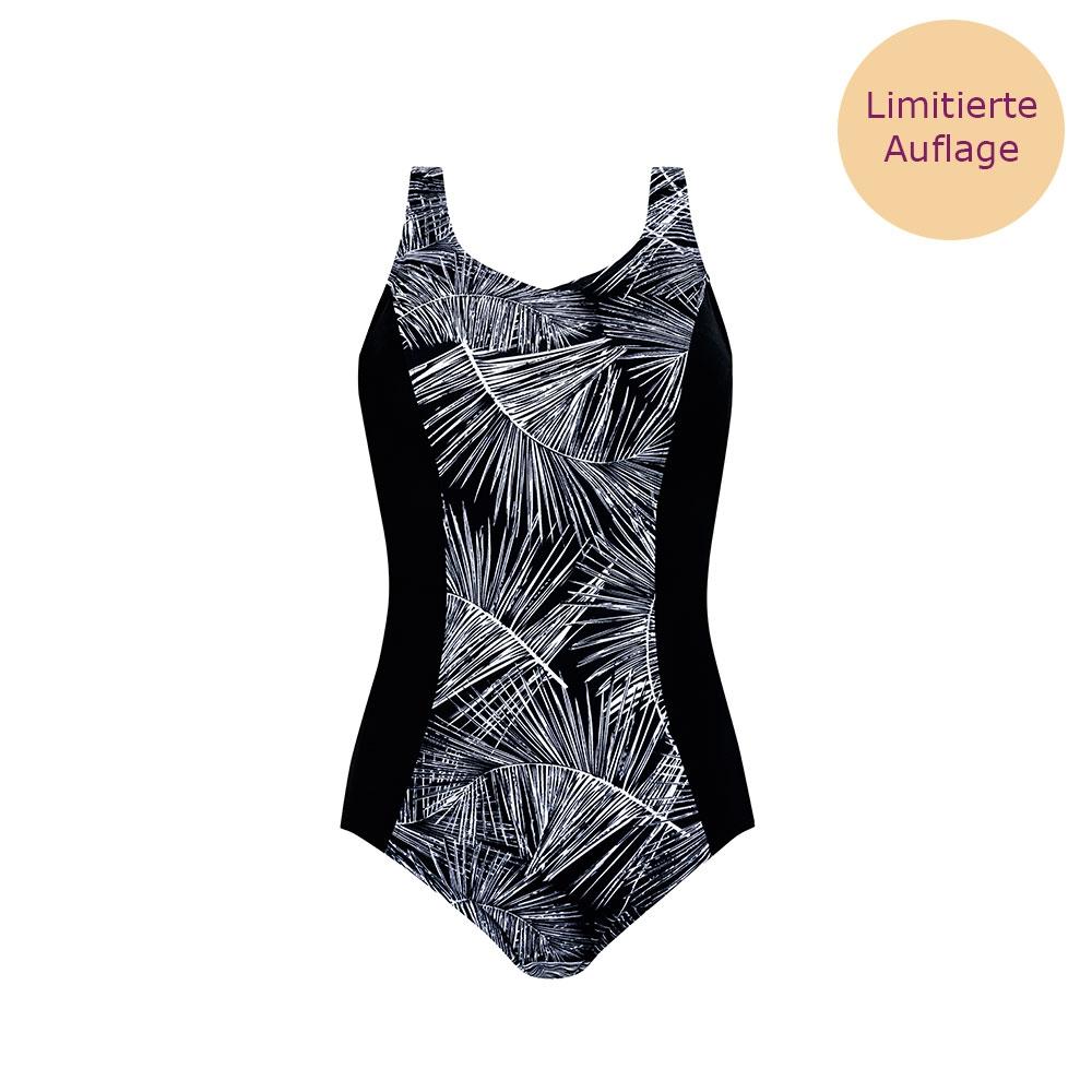 Amoena Florida FB Prothesen Badeanzug in Schwarz mit weißen Palmblättern