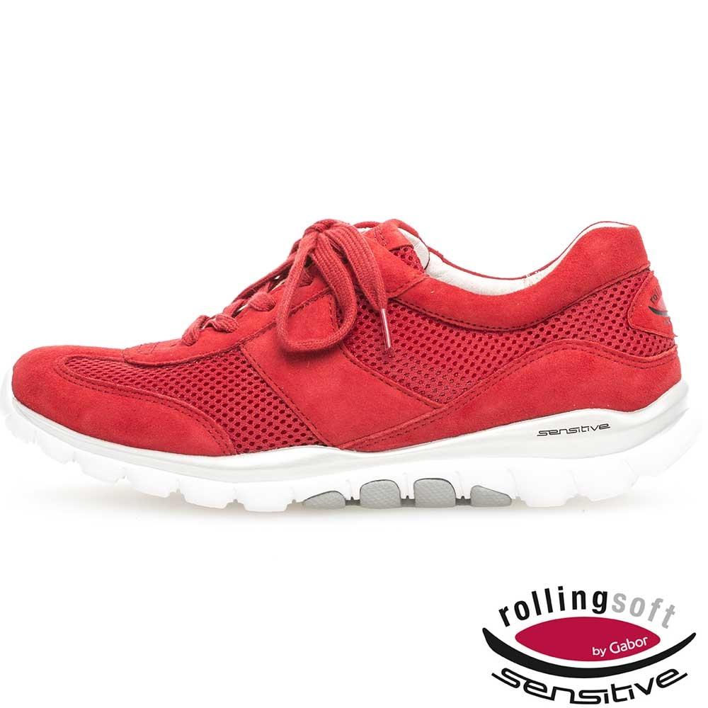 Rote Gabor Sneaker für Damen Rollingsoft sensitive Mesh in intensivem Rot