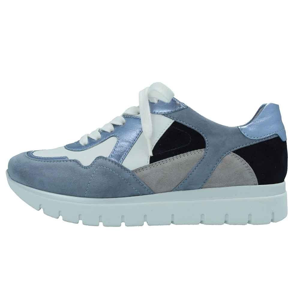 blau| Semler Sneaker Silvia in Weiß / Blau / Metallic mit Vario-Fußbett