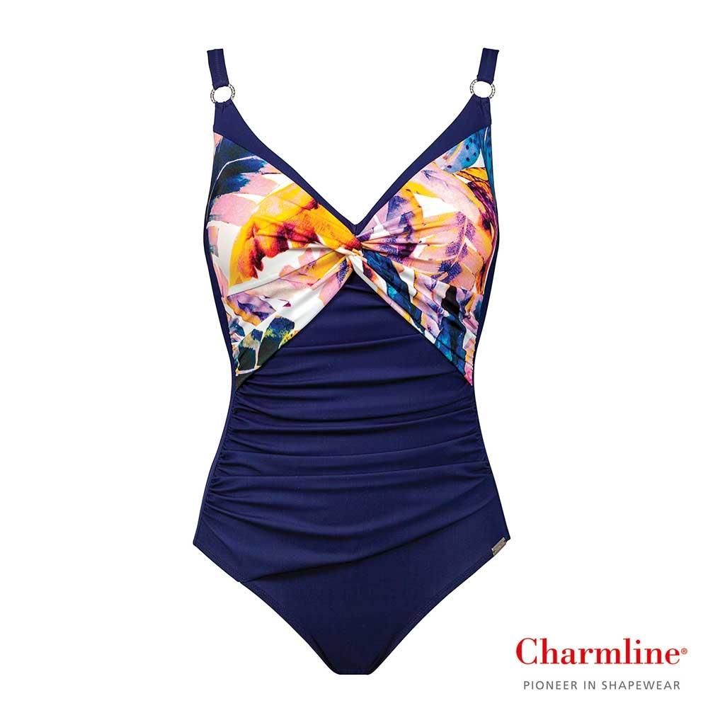 Charmline Tropical Escape Badeanzug in Dunkelblau mit buntem Blattprint im Brustbereich