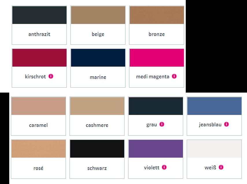 mediven elegance Kompressionsstrümpfe Farbspektrum