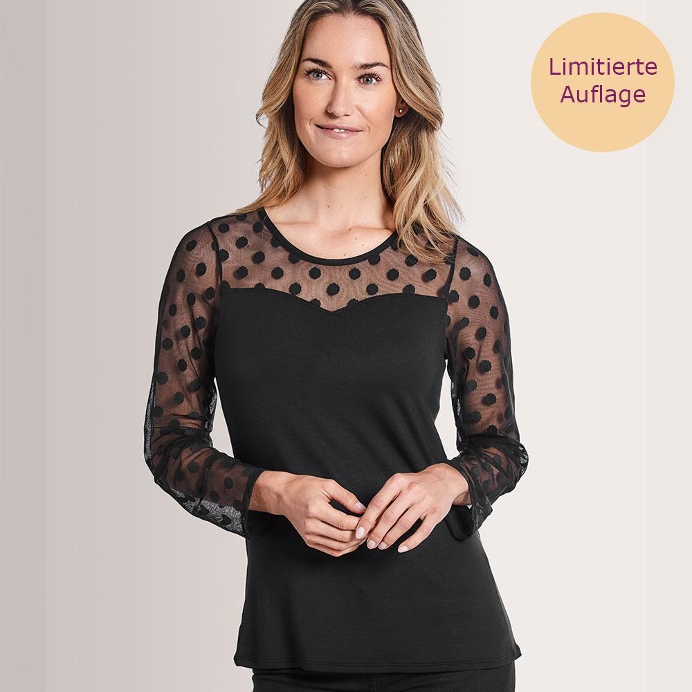 schwarz| Amoena Heart Langarm Shirt mit Netzeinsätzen mit Punkten