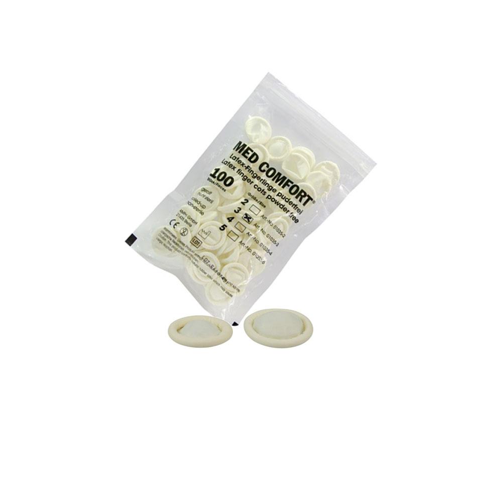 MED COMFORT Fingerlinge - latex- und puderfreie Einmalfingerlinge, unsteril, 100 Stück pro Beutel.