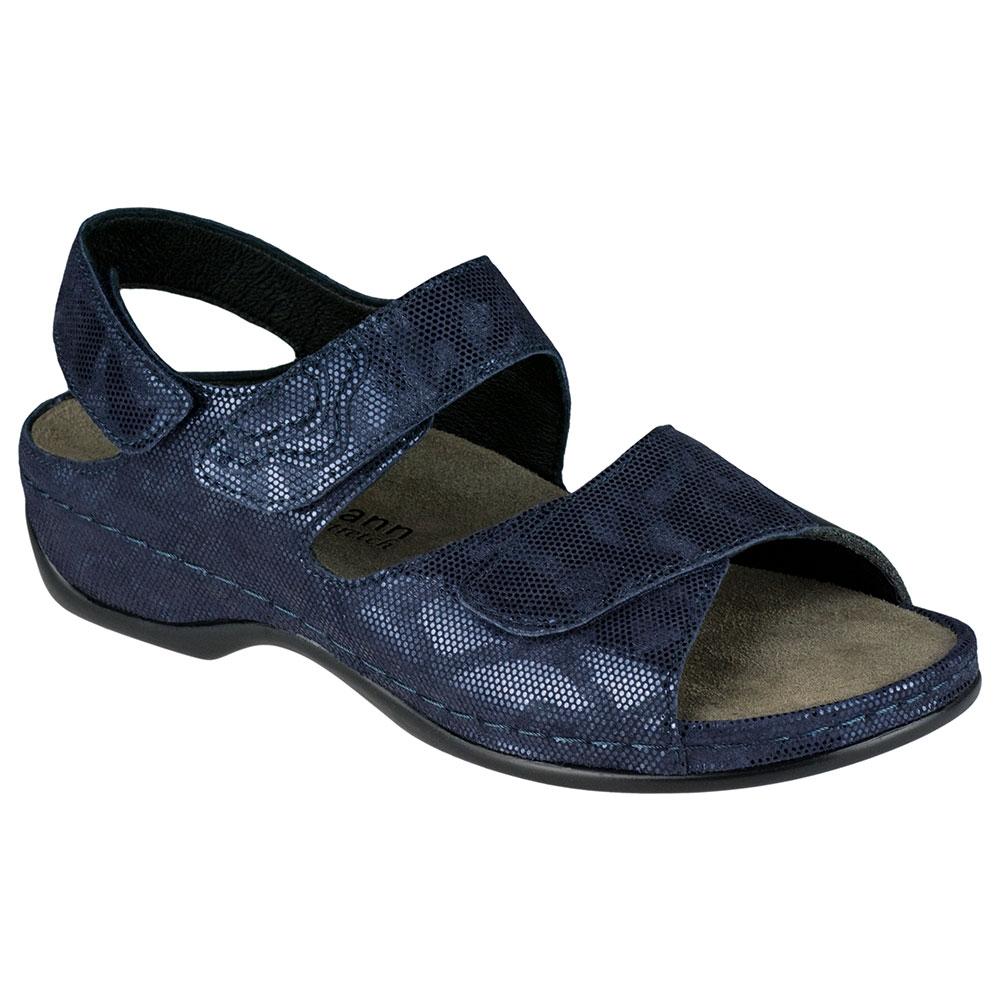 blau|  Dunkelblaue Berkemann Sandalen aus weichem Leder und Stretcheinsatz im Ballenbereich