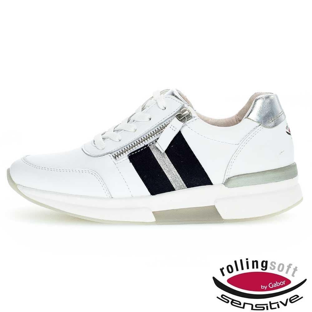 weiss| Gabor Rollingsoft sensitive Sneaker in Weiß mit blauen Blockstreifen und silberfarbenen Akzenten
