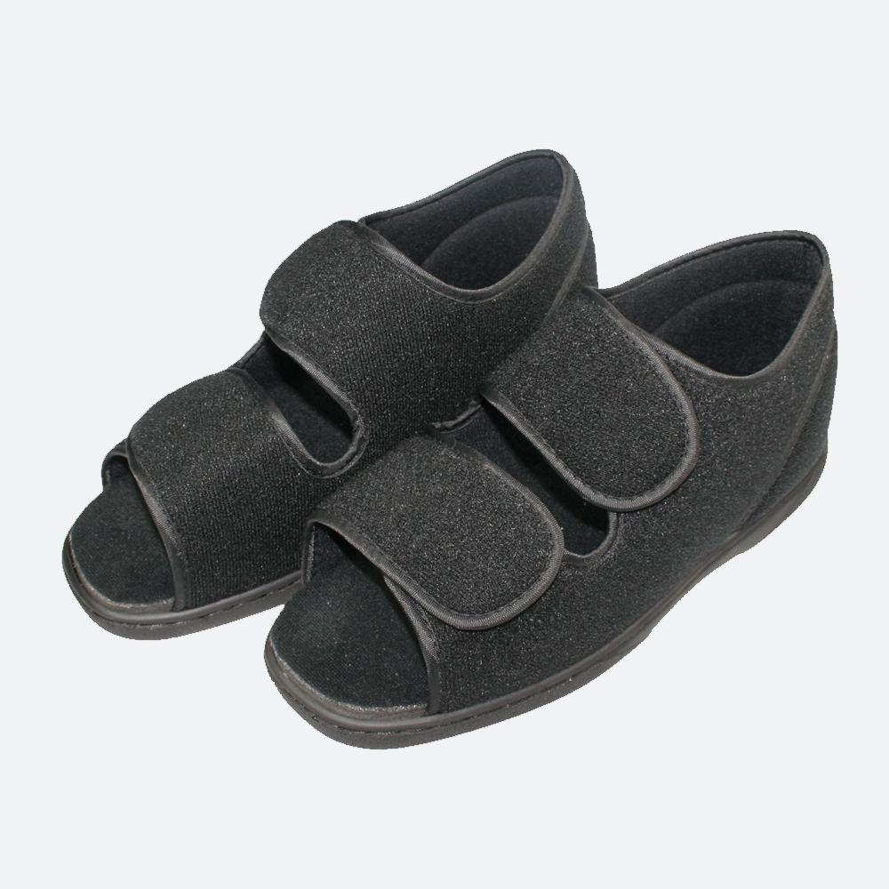 Werkmeister Wewa® Ped Therapieschuhe offen, sehr bequeme Schuhe für die wärmere Jahreszeit, ideal bei geschwollenen und schmerzenden Füßen, breite Klettverschlüsse, sehr weiches Material, rutschhemmende Sohle, Farbe: Schwarz