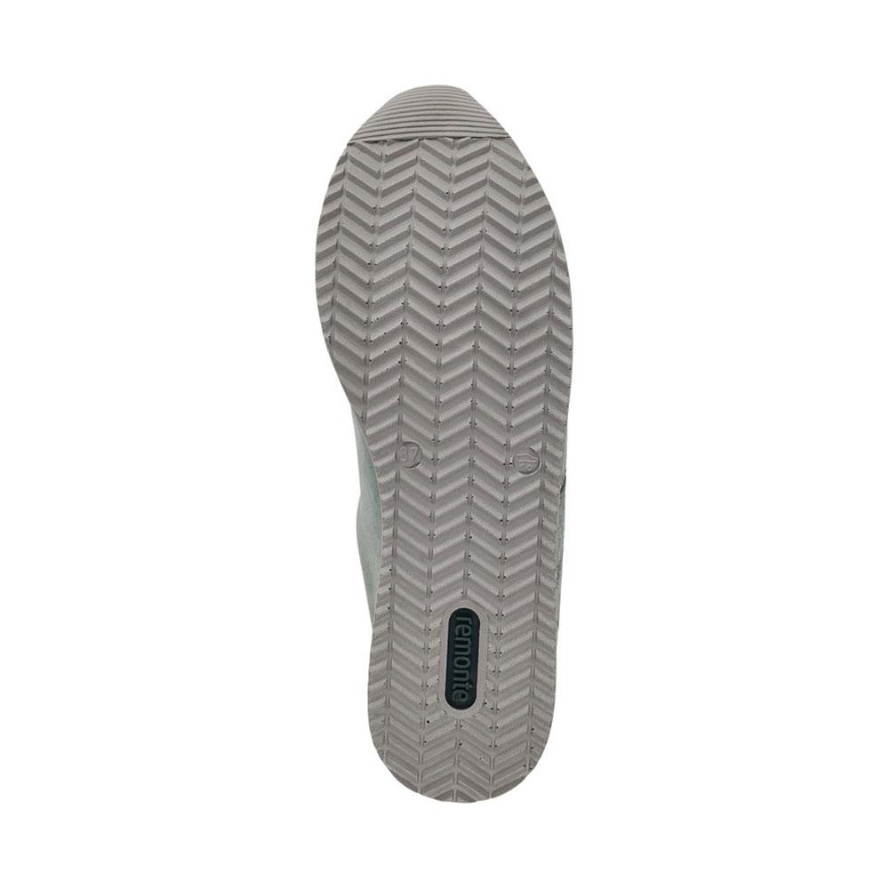 Remonte Damensneaker Green-Metallic mit grauer Profillaufsohle