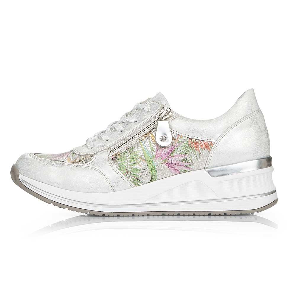 bunt| Remonte Damen Sneaker Multi - Außenansicht mit seitlichem Reißverschluss