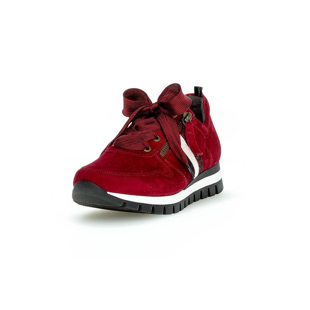 Roter Gabor Sneaker aus samtigem Leder mit Schnürsenkeln und Reißverschluss