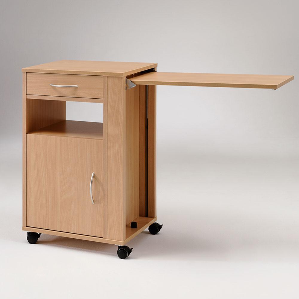 Burmeier Nachttisch Hermann, ausklappbarer Bettisch, auf Rollen, von beiden Seiten zu bedienen