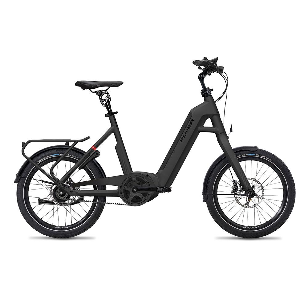 schwarz| FLYER E-Bike Upstreet1 7.03, mit Riemenantrieb in der Farbe Black Matt