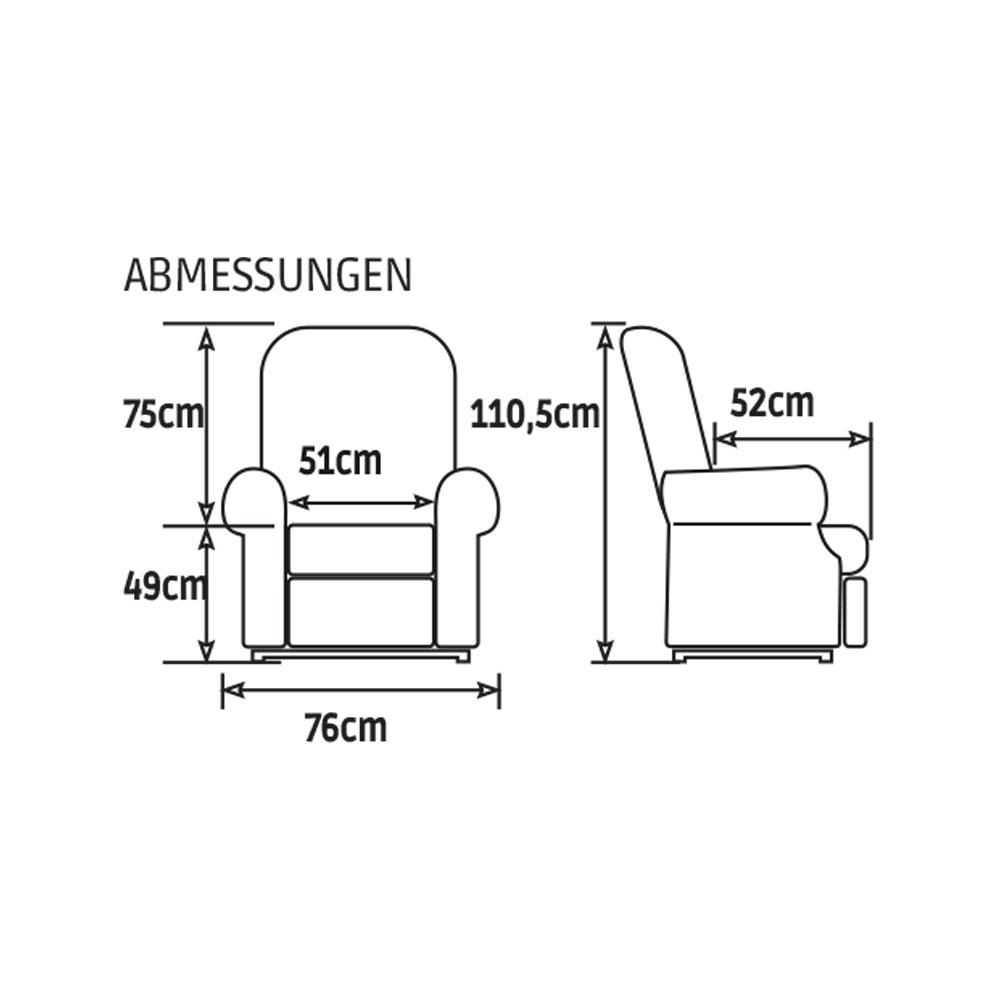 GOLDEN Moderner Komfort Sessel 2 Motoren, Maße