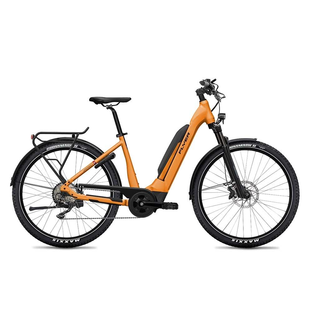 orange| blau| FLYER E-Bike Upstreet5 7.12 Mixed Rahmen, Trapez, Farbe Tangerine Orange Matt