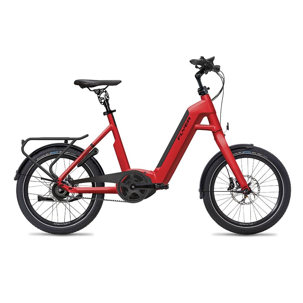 rot| FLYER E-Bike Upstreet1 7.03, mit Riemenantrieb in der Farbe Classic Red Gloss