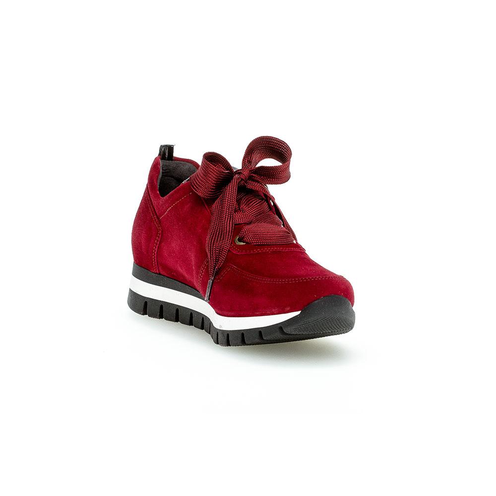 Modischer Gabor comfort Sneaker für Damen aus dunkelrotem Samtchevreau-Leder