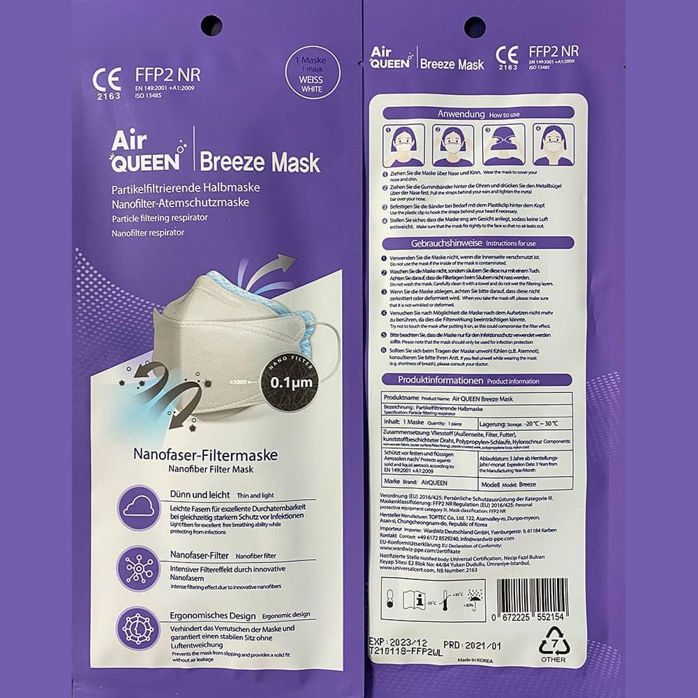Air-Queen FFP2 Maske mit Nanofilter