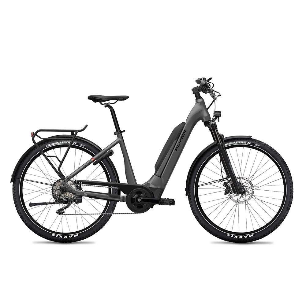 anthrazit| FLYER E-Bike Upstreet5 7.12, Comfortrahmen mit tiefem Einstieg, Farbe: Anthracite Gloss