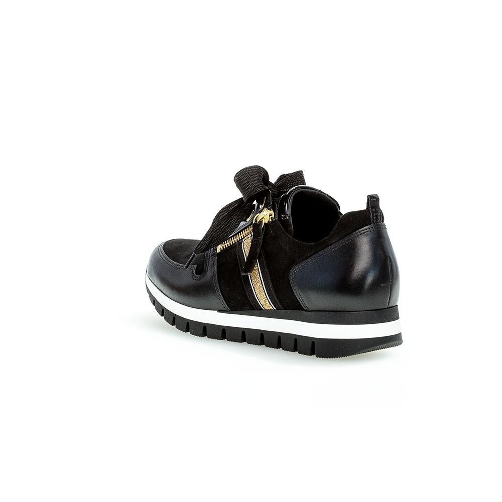 Gabor Sneaker Samt schwarz/gold Ansicht hinten mit glänzend schwarzer Fersenkappe