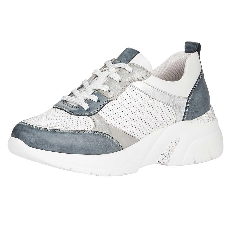 Remonte Damen Soft Sneaker White-Grey - Ansicht von vorne