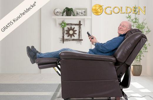 Golden Aufstehsessel inklusive gratis Kuscheldecke