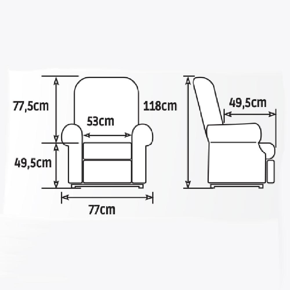 Golden Komfort Maxi Flex Aufstehsessel, Größenmaße