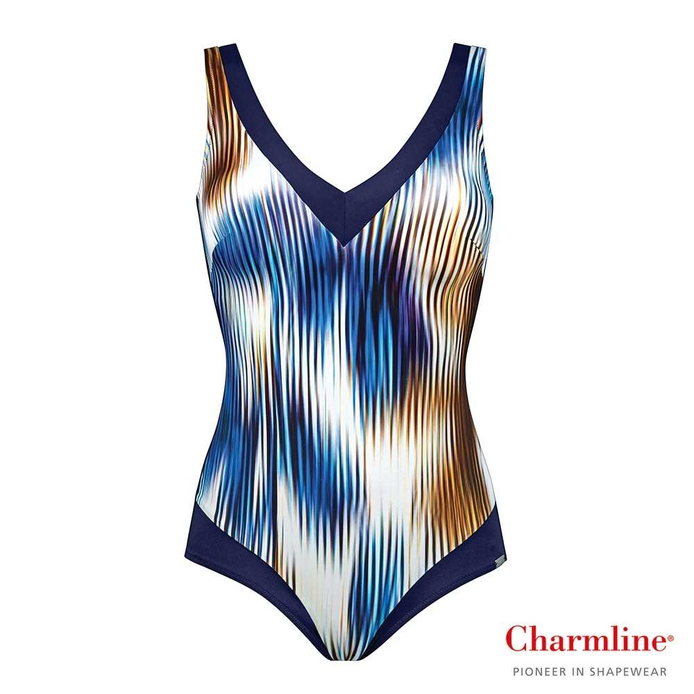 blau| Charmline Badeanzug Aquarius Flames mit flammenförmig angeordnetem Farbspiel