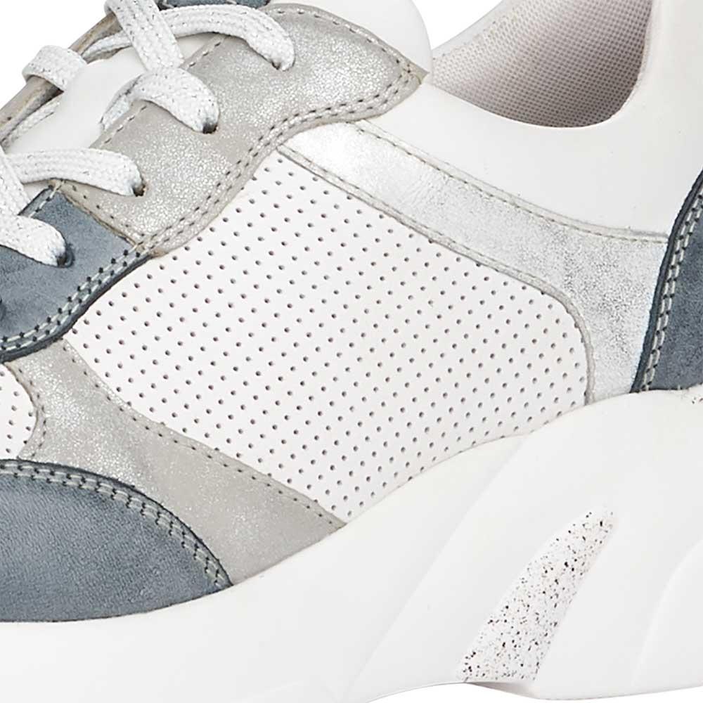Remonte Damen Soft Sneaker mit Metallic-Effekten und Glitzer-Schnürsenkeln