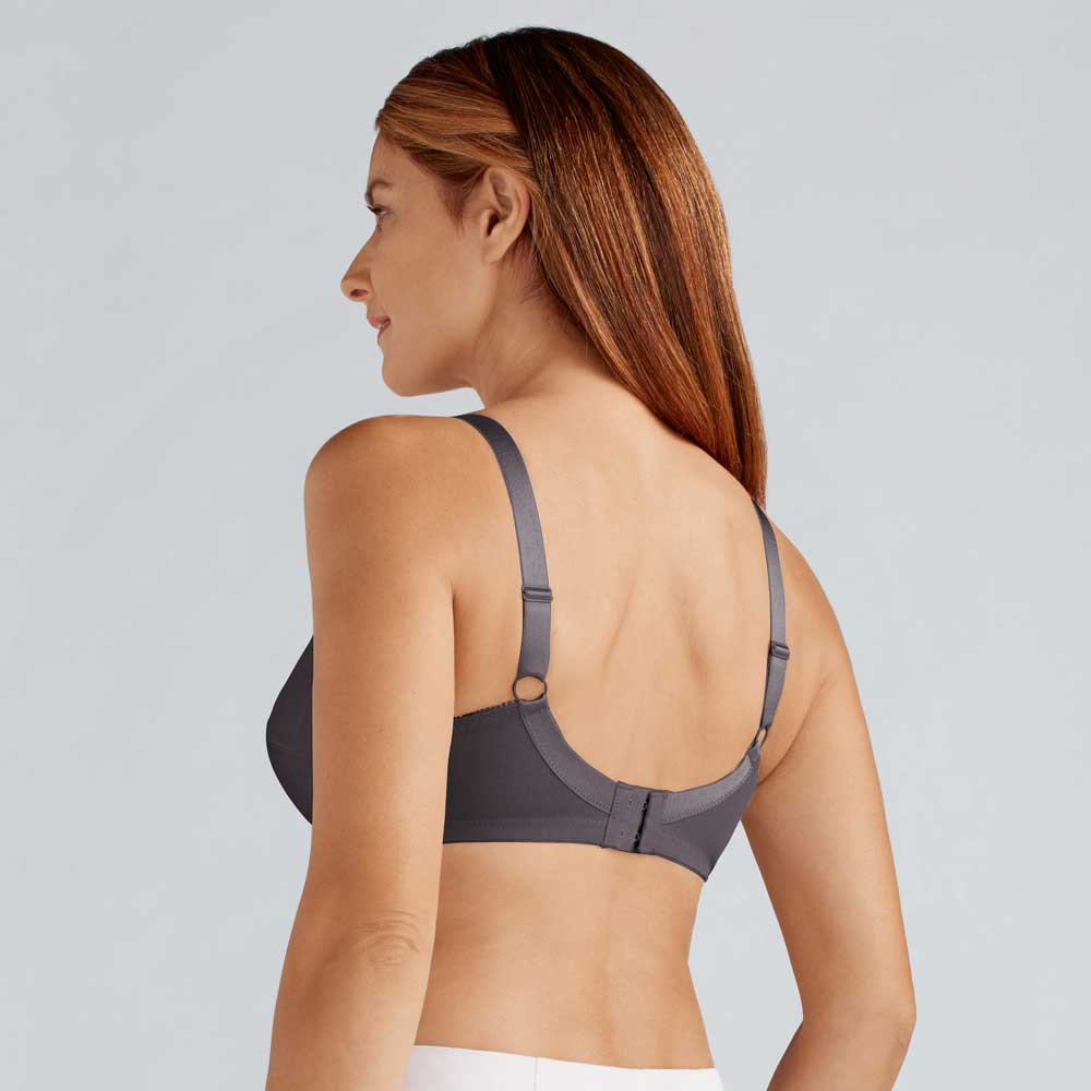 Amoena Nancy SB, Farbe: Dunkelgrau, glänzender Soft-BH für Prothesentaschen, Rückseite