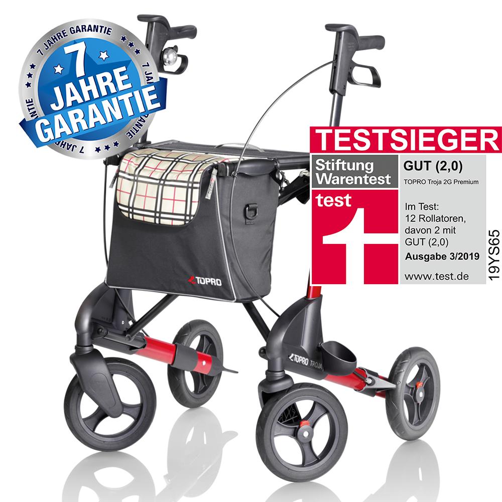Weinrot  Topro Rollator Troja 2G Premium, Farbe: Weinrot, Testsieger bei Stiftung Warentest 03/2019