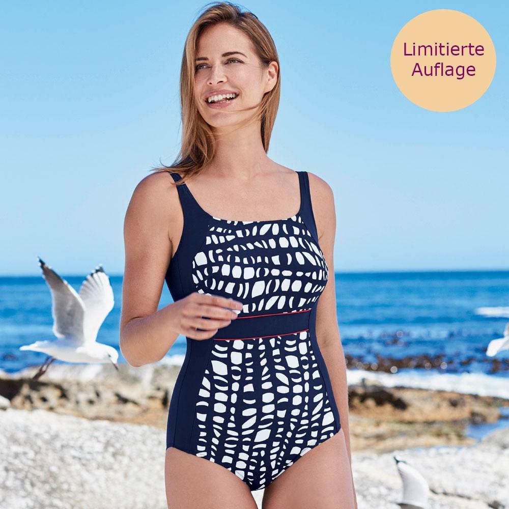 Blau | Anita care Prothesenbadeanzug Chicago Maritim, marinefarbener Badeanzug mit blau-weißem Muster