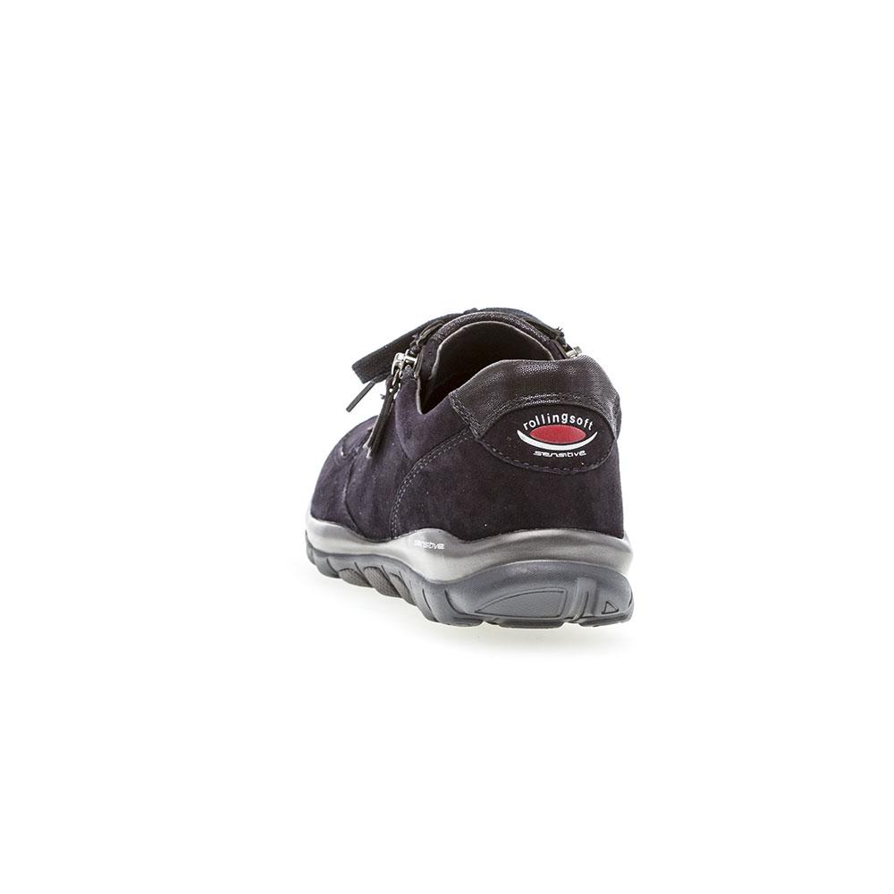 Blaue Gabor Sneaker Rollingsoft sensitive Ohio Pazifik - Ansicht Schuhferse