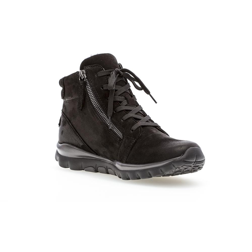Gabor Rollingsoft sensitive Nubuk Oil Black - Ansicht  von vorne  mit polierter Schuhspitze